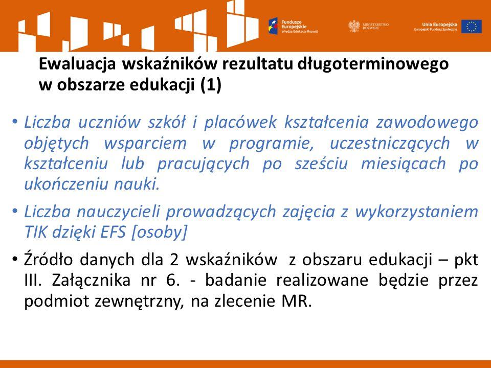 Ewaluacja wskaźników rezultatu długoterminowego w obszarze edukacji (1) Liczba uczniów szkół i placówek kształcenia zawodowego objętych wsparciem w pr