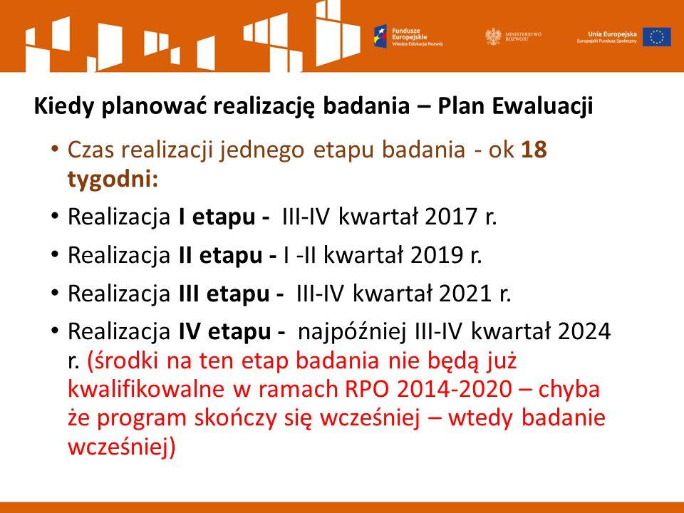 Kiedy planować realizację badania – Plan Ewaluacji Czas realizacji jednego etapu badania - ok 18 tygodni: Realizacja I etapu - III-IV kwartał 2017 r.