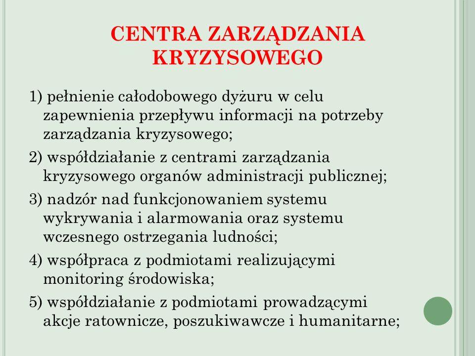 1) pełnienie całodobowego dyżuru w celu zapewnienia przepływu informacji na potrzeby zarządzania kryzysowego; 2) współdziałanie z centrami zarządzania