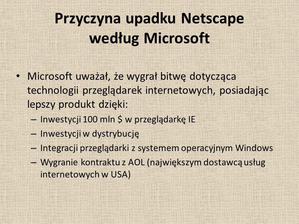 Przyczyna upadku Netscape według Microsoft Microsoft uważał, że wygrał bitwę dotycząca technologii przeglądarek internetowych, posiadając lepszy produkt dzięki: – Inwestycji 100 mln $ w przeglądarkę IE – Inwestycji w dystrybucję – Integracji przeglądarki z systemem operacyjnym Windows – Wygranie kontraktu z AOL (największym dostawcą usług internetowych w USA)