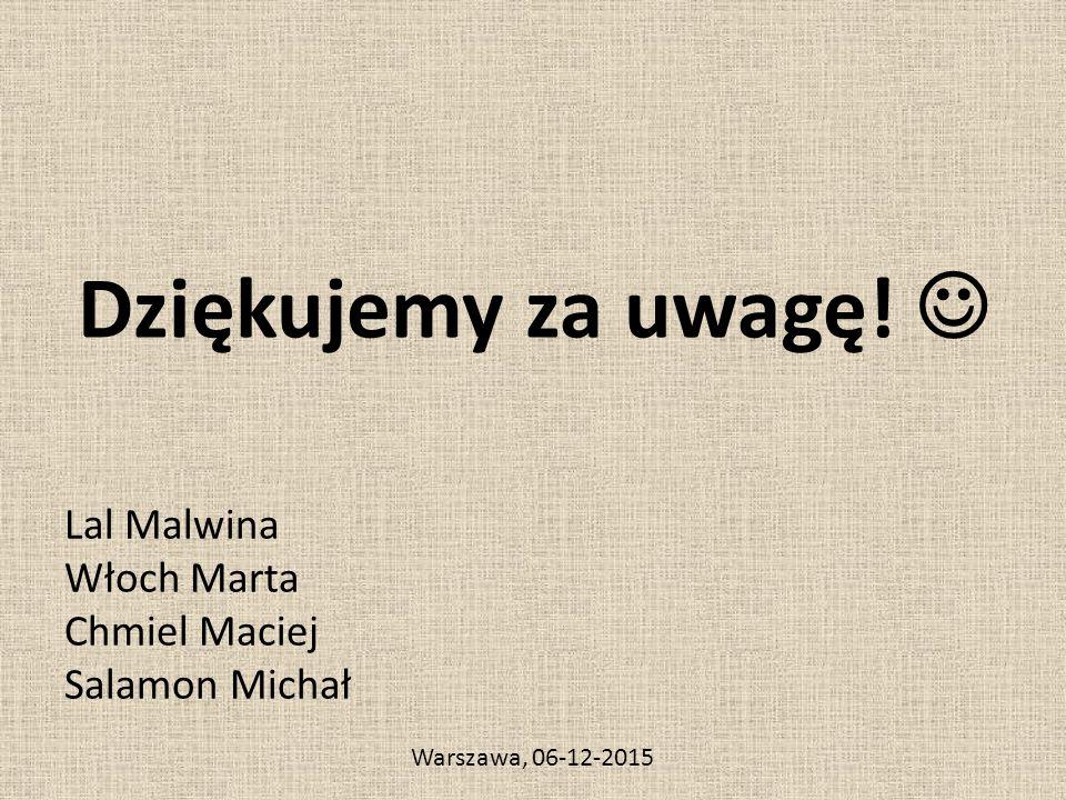 Dziękujemy za uwagę! Lal Malwina Włoch Marta Chmiel Maciej Salamon Michał Warszawa, 06-12-2015