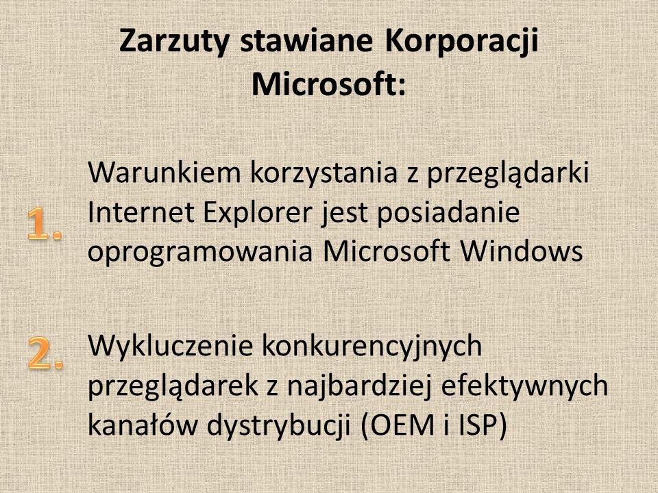 Zarzuty stawiane Korporacji Microsoft: Warunkiem korzystania z przeglądarki Internet Explorer jest posiadanie oprogramowania Microsoft Windows Wykluczenie konkurencyjnych przeglądarek z najbardziej efektywnych kanałów dystrybucji (OEM i ISP)