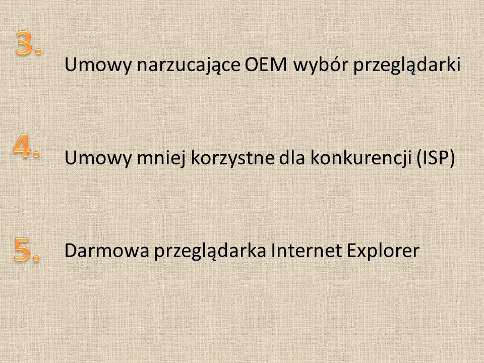 Umowy narzucające OEM wybór przeglądarki Umowy mniej korzystne dla konkurencji (ISP) Darmowa przeglądarka Internet Explorer