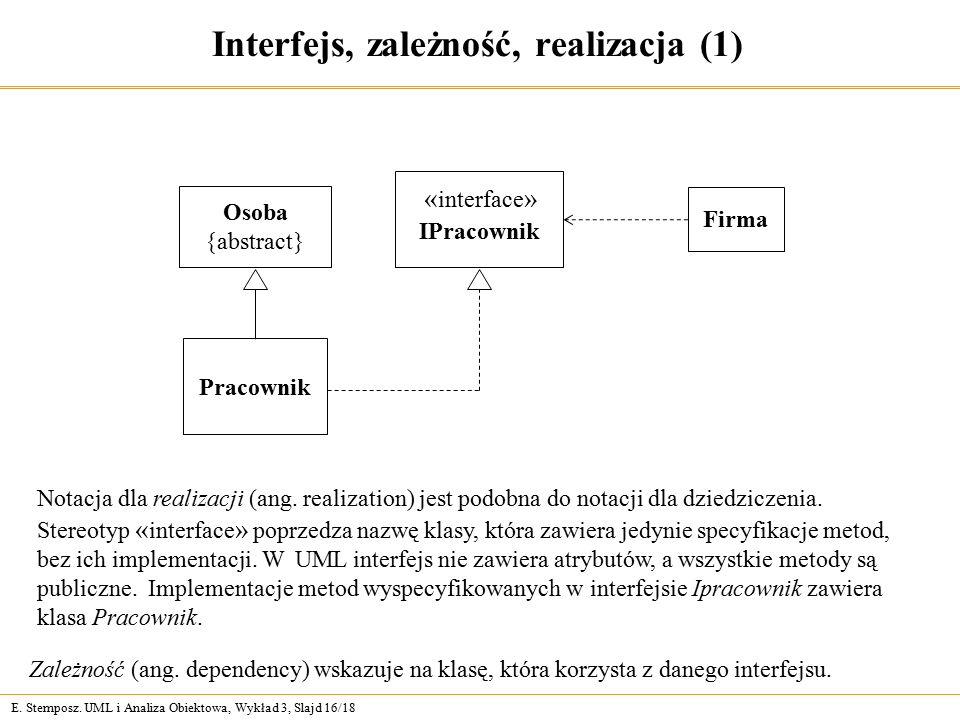 E. Stemposz. UML i Analiza Obiektowa, Wykład 3, Slajd 16/18 Interfejs, zależność, realizacja (1) Notacja dla realizacji (ang. realization) jest podobn