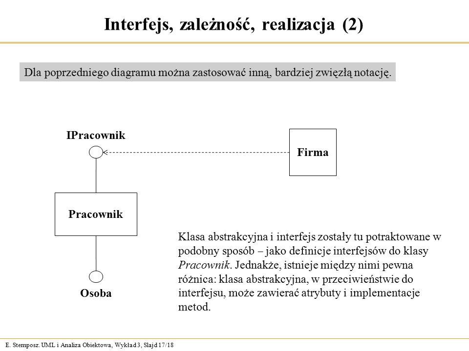 E. Stemposz. UML i Analiza Obiektowa, Wykład 3, Slajd 17/18 Interfejs, zależność, realizacja (2) Dla poprzedniego diagramu można zastosować inną, bard