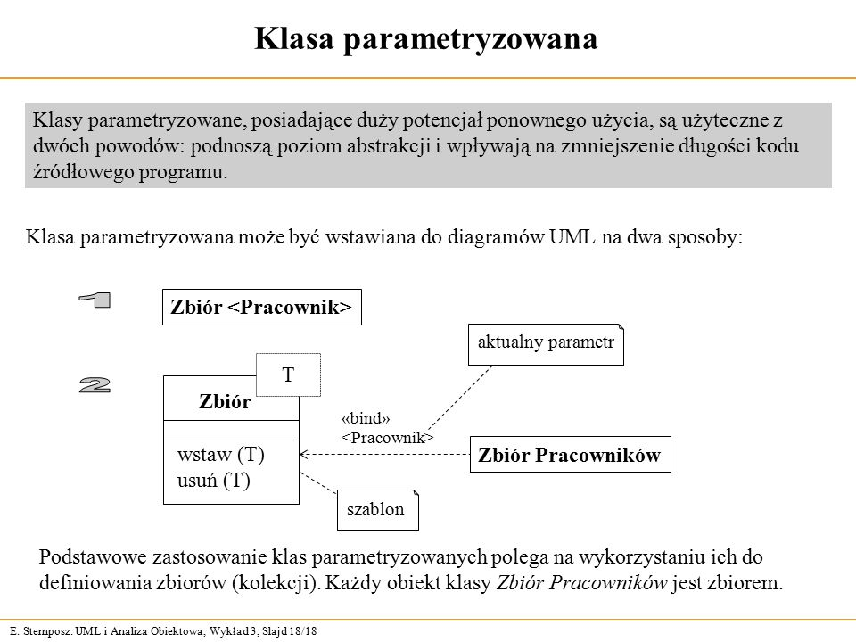 E. Stemposz. UML i Analiza Obiektowa, Wykład 3, Slajd 18/18 Klasa parametryzowana Klasy parametryzowane, posiadające duży potencjał ponownego użycia,