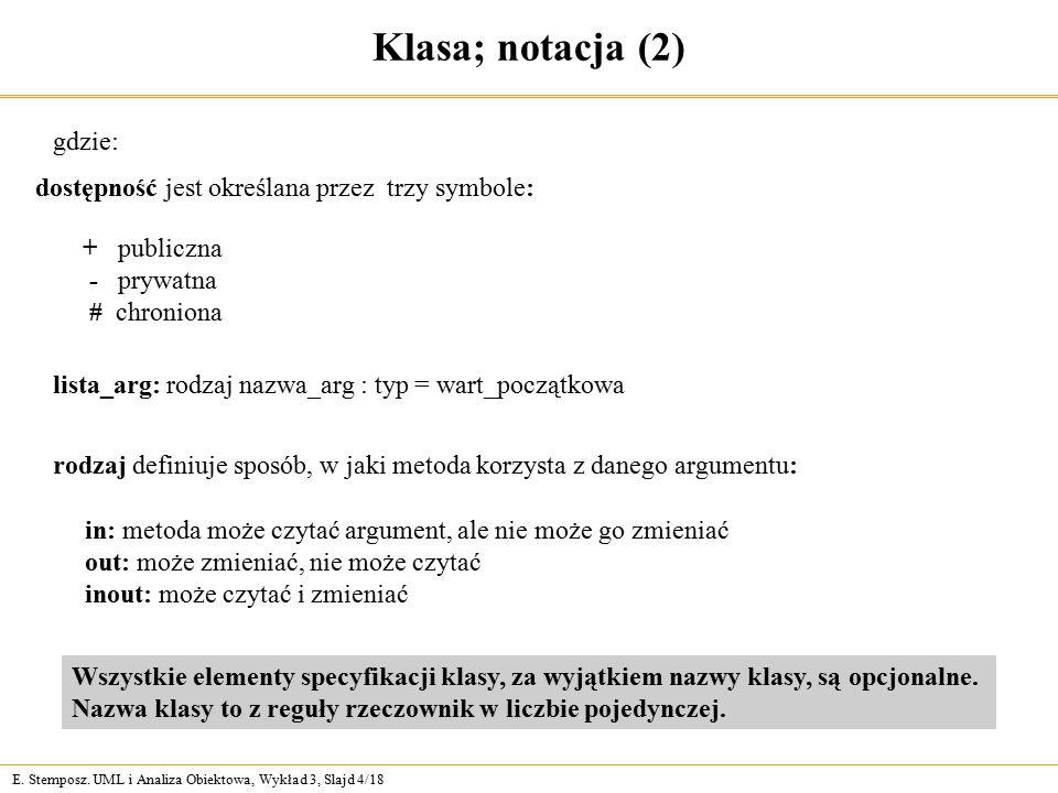 E. Stemposz. UML i Analiza Obiektowa, Wykład 3, Slajd 4/18 Klasa; notacja (2) gdzie: rodzaj definiuje sposób, w jaki metoda korzysta z danego argument