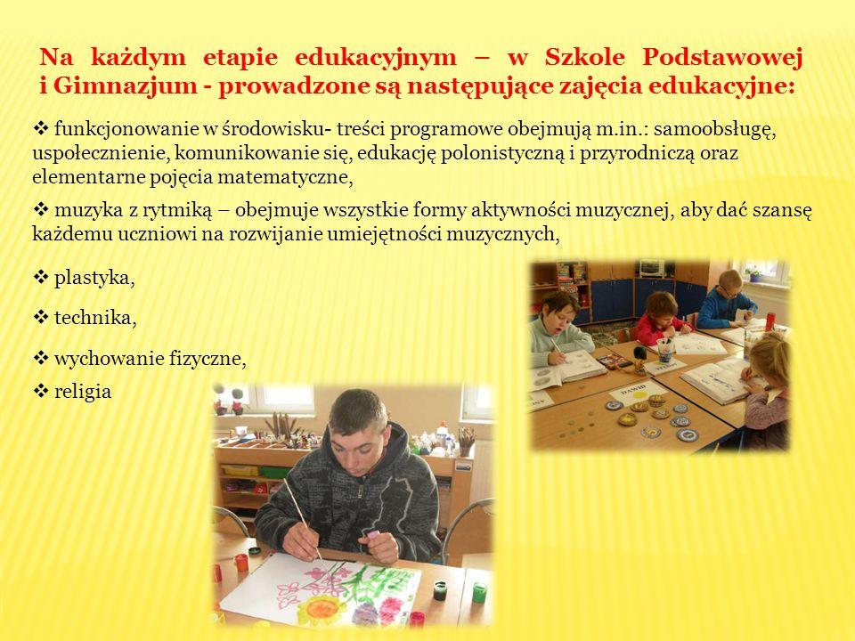 Na każdym etapie edukacyjnym – w Szkole Podstawowej i Gimnazjum - prowadzone są następujące zajęcia edukacyjne:  funkcjonowanie w środowisku- treści