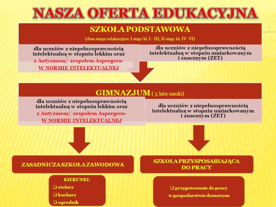 Uczęszczają do nich uczniowie (Szkoła Podstawowa i Gimnazjum) z niepełnosprawnością intelektualną w stopniu umiarkowanym i znacznym oraz sprzężeniami.