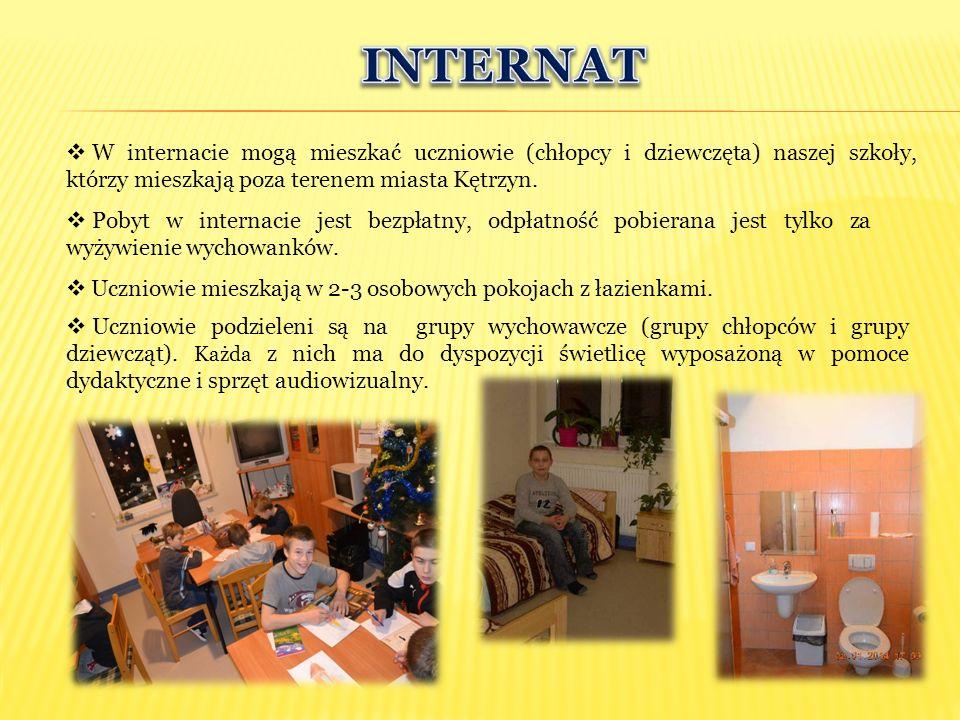  W internacie mogą mieszkać uczniowie (chłopcy i dziewczęta) naszej szkoły, którzy mieszkają poza terenem miasta Kętrzyn.  Pobyt w internacie jest b