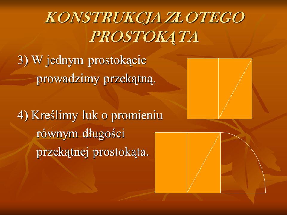 KONSTRUKCJA Z Ł OTEGO PROSTOK Ą TA 1) Rysujemy kwadrat. 2) Kwadrat dzielimy na dwa jednakowe prostokąty.