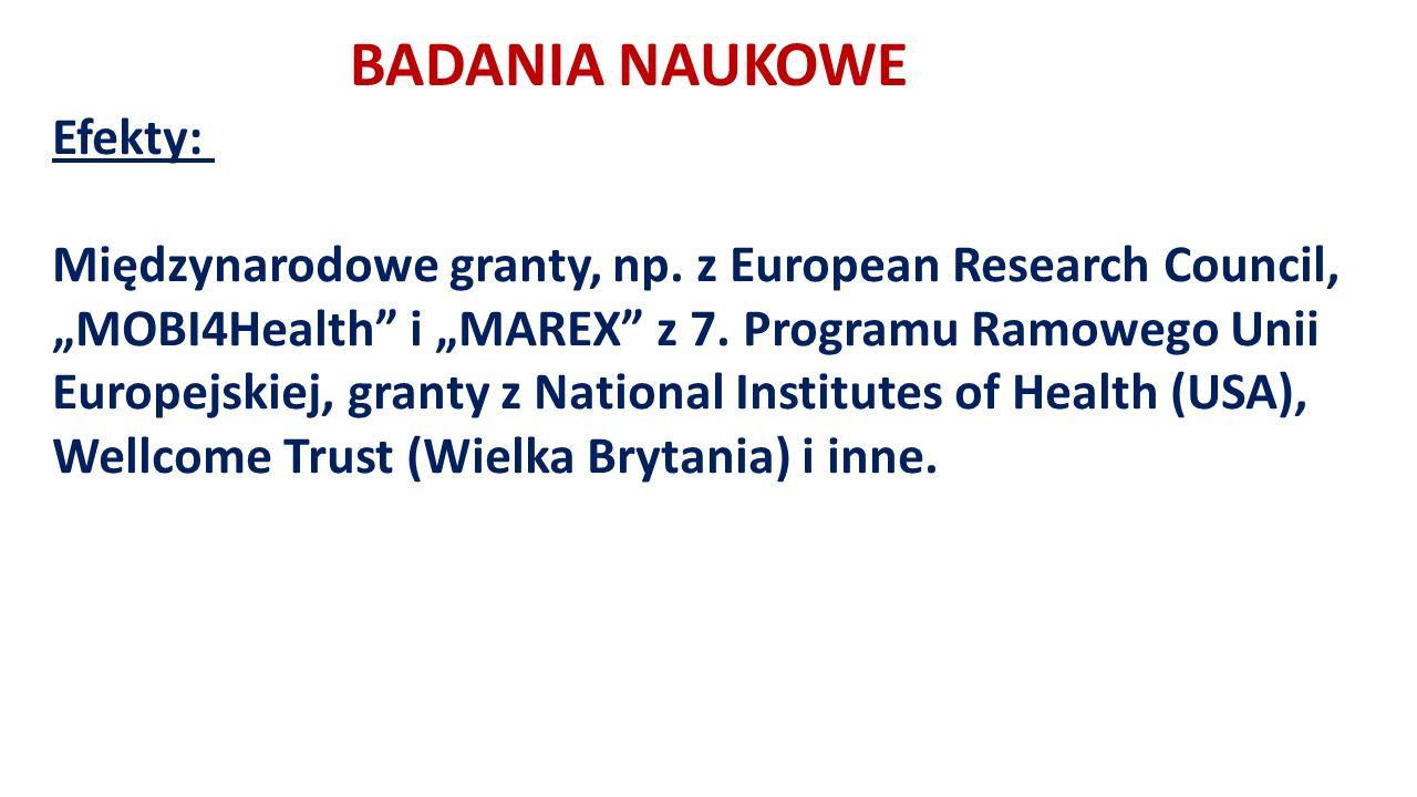 BADANIA NAUKOWE Efekty: Międzynarodowe granty, np.
