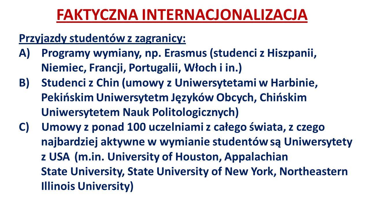 FAKTYCZNA INTERNACJONALIZACJA Przyjazdy studentów z zagranicy: A)Programy wymiany, np.