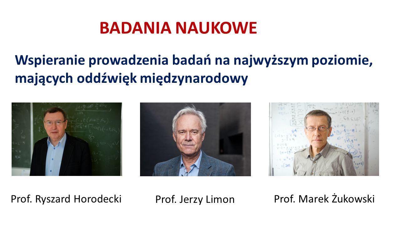 BADANIA NAUKOWE Wspieranie prowadzenia badań na najwyższym poziomie, mających oddźwięk międzynarodowy Prof.
