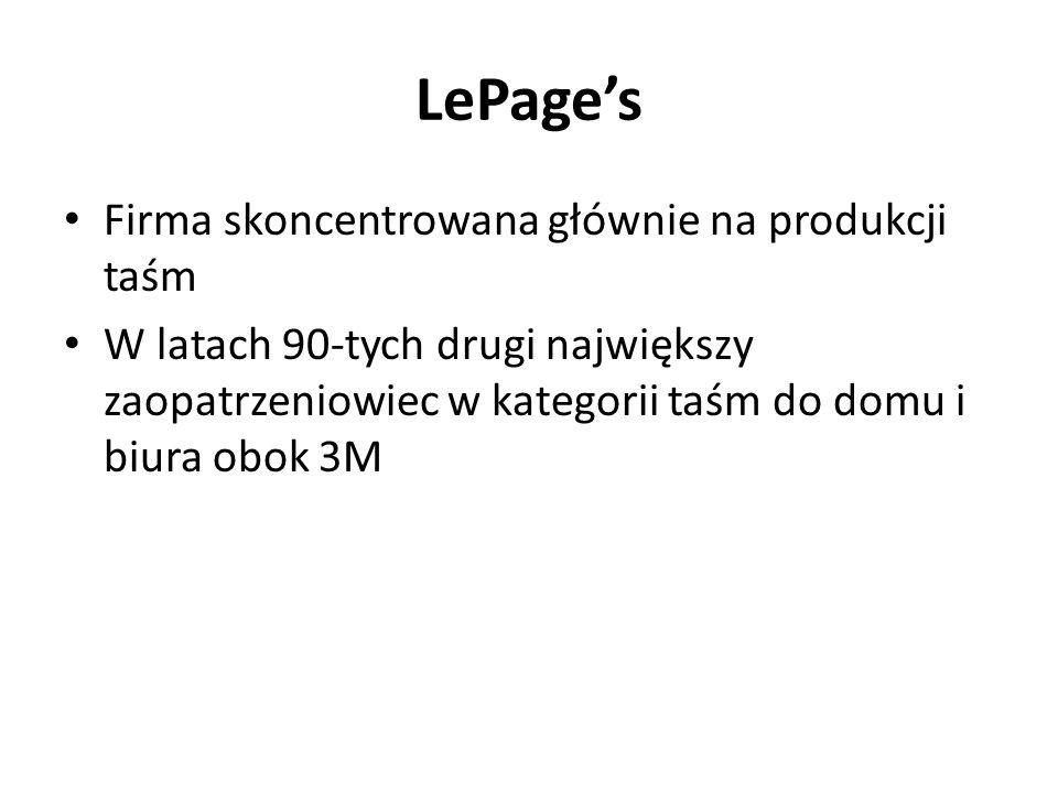 LePage's Firma skoncentrowana głównie na produkcji taśm W latach 90-tych drugi największy zaopatrzeniowiec w kategorii taśm do domu i biura obok 3M
