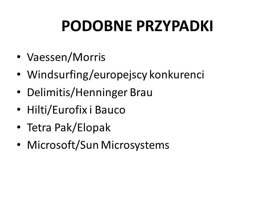 PODOBNE PRZYPADKI Vaessen/Morris Windsurfing/europejscy konkurenci Delimitis/Henninger Brau Hilti/Eurofix i Bauco Tetra Pak/Elopak Microsoft/Sun Microsystems