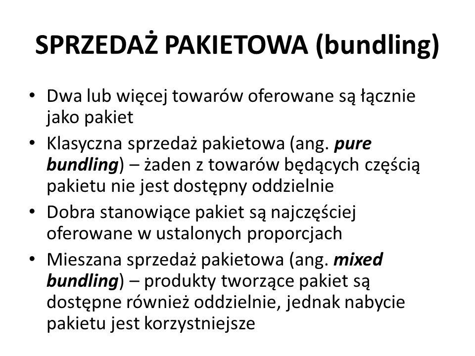 SPRZEDAŻ PAKIETOWA (bundling) Dwa lub więcej towarów oferowane są łącznie jako pakiet Klasyczna sprzedaż pakietowa (ang.