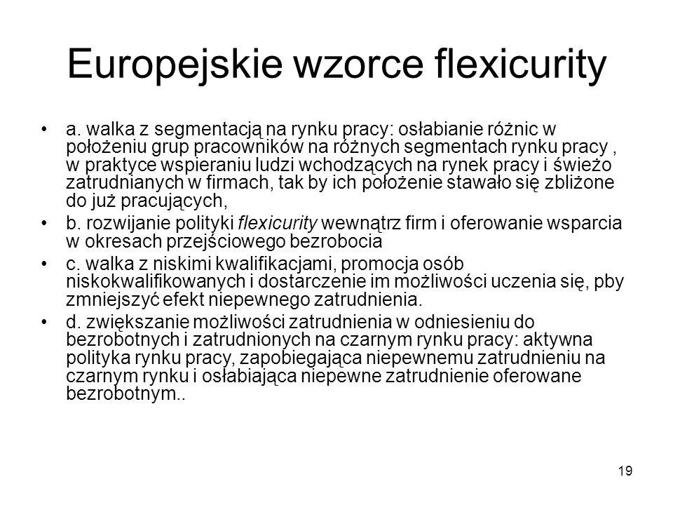 19 Europejskie wzorce flexicurity a.
