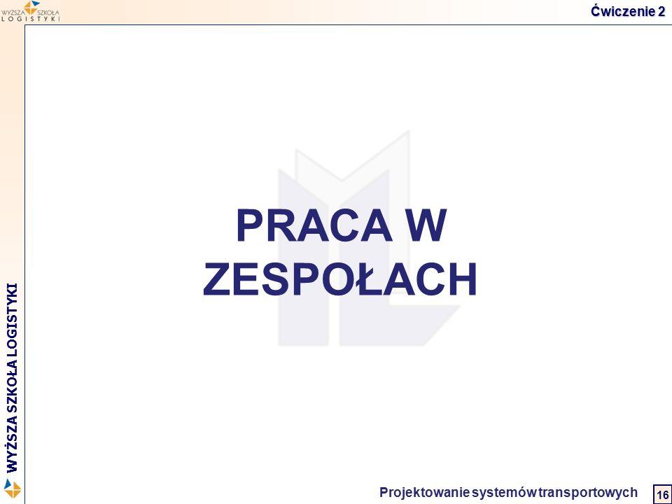 Logistyka w biznesie międzynarodowym 2 WYŻSZA SZKOŁA LOGISTYKI Projektowanie systemów transportowych 16 PRACA W ZESPOŁACH Ćwiczenie 2
