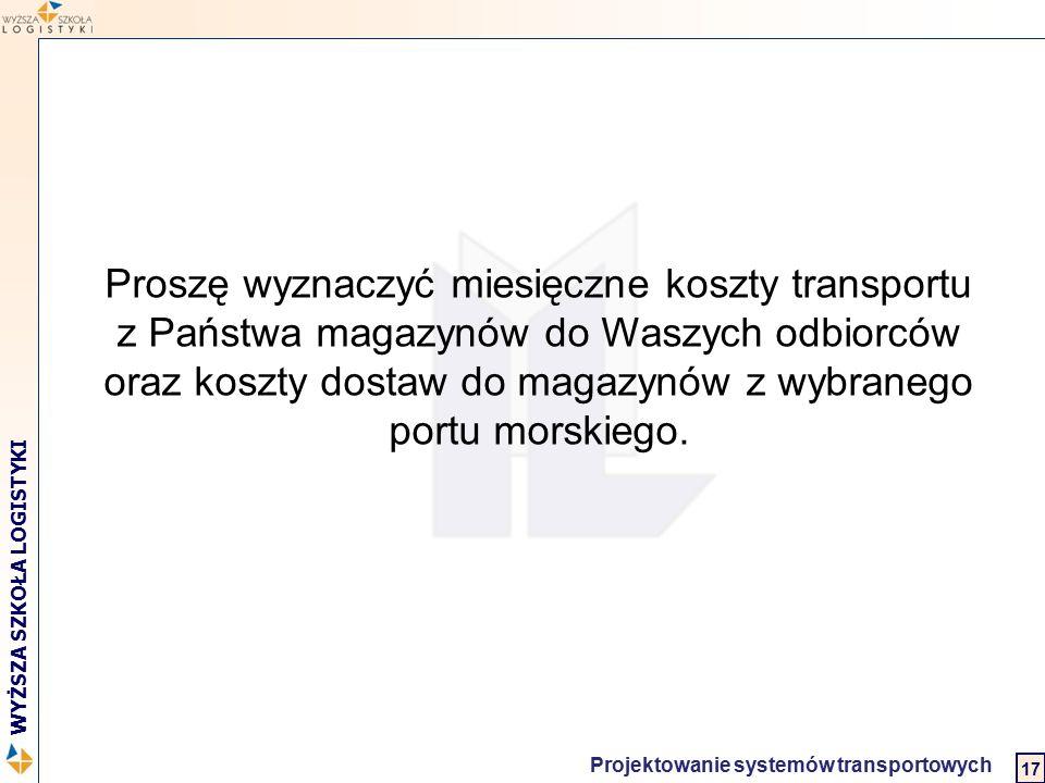 Logistyka w biznesie międzynarodowym 2 WYŻSZA SZKOŁA LOGISTYKI Projektowanie systemów transportowych 17 Proszę wyznaczyć miesięczne koszty transportu