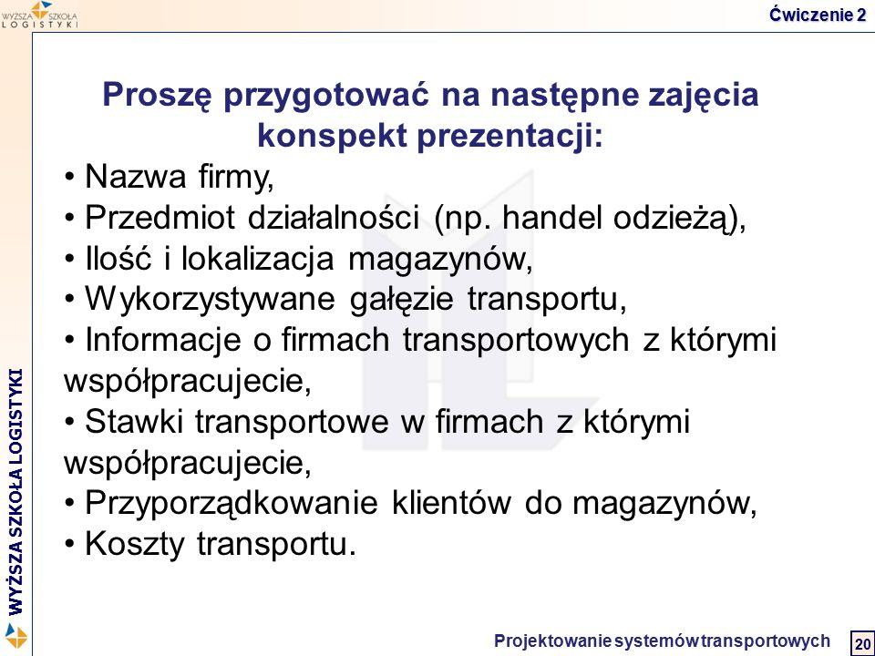 Logistyka w biznesie międzynarodowym 2 WYŻSZA SZKOŁA LOGISTYKI Projektowanie systemów transportowych 20 Ćwiczenie 2 Proszę przygotować na następne zaj