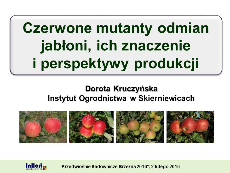 Dorota Kruczyńska Instytut Ogrodnictwa w Skierniewicach Czerwone mutanty odmian jabłoni, ich znaczenie i perspektywy produkcji Czerwone mutanty odmian jabłoni, ich znaczenie i perspektywy produkcji Przedwiośnie Sadownicze Brzezna 2016 ; 2 lutego 2016