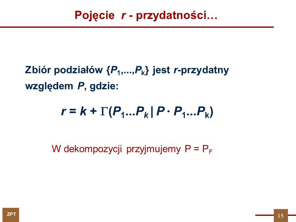 ZPT Pojęcie r - przydatności… Zbiór podziałów {P 1,...,P k } jest r-przydatny względem P, gdzie: r = k +  (P 1...P k | P  P 1...P k ) 15 W dekompozycji przyjmujemy P = P F