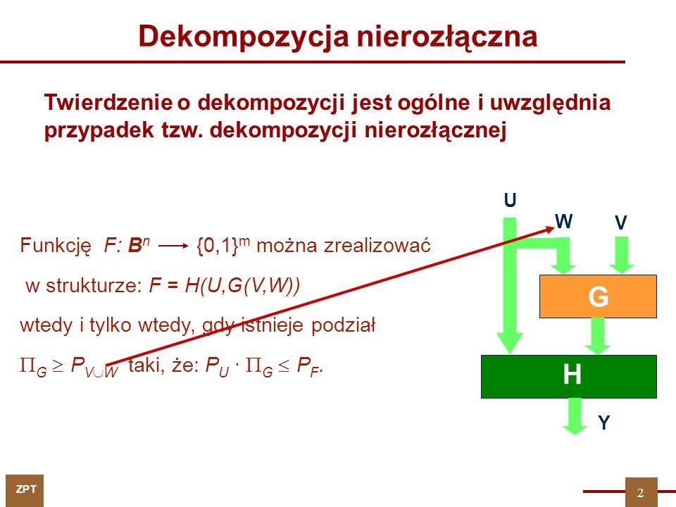 ZPT V U G H Y W Funkcję F: B n {0,1} m można zrealizować w strukturze: F = H(U,G(V,W)) wtedy i tylko wtedy, gdy istnieje podział  G  P V  W taki, że: P U ·  G  P F.