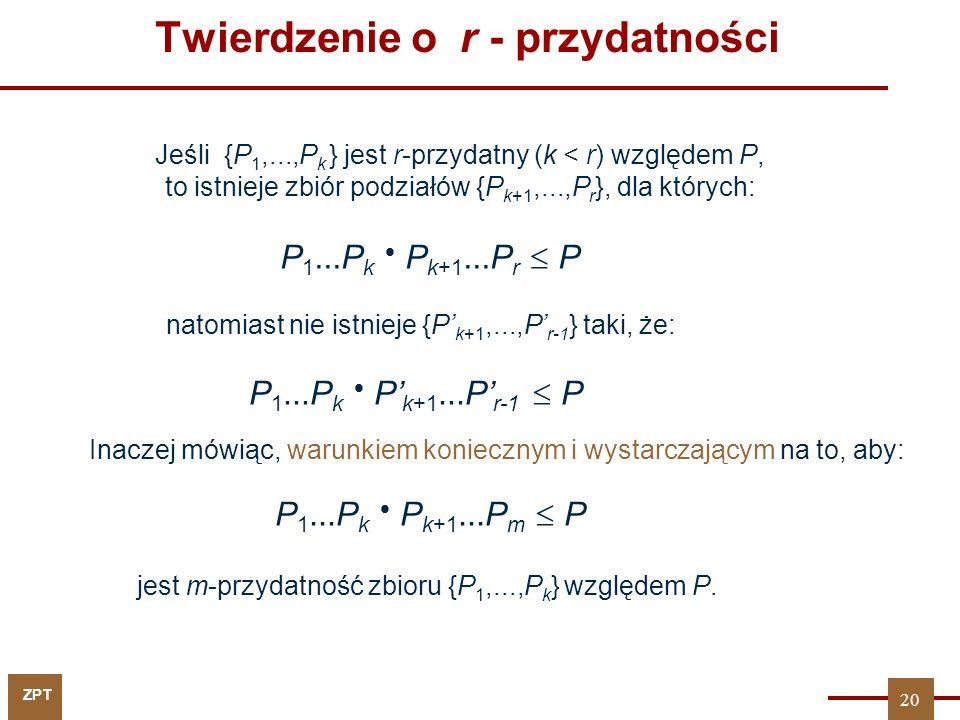ZPT Twierdzenie o r - przydatności Jeśli {P 1,...,P k } jest r-przydatny (k < r) względem P, to istnieje zbiór podziałów {P k+1,...,P r }, dla których: P 1...P k  P k+1...P r  P natomiast nie istnieje {P' k+1,...,P' r-1 } taki, że: P 1...P k  P' k+1...P' r-1  P Inaczej mówiąc, warunkiem koniecznym i wystarczającym na to, aby: P 1...P k  P k+1...P m  P jest m-przydatność zbioru {P 1,...,P k } względem P.