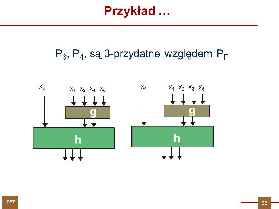 ZPT Przykład … P 3, P 4, są 3-przydatne względem P F x 1 x 2 x 4 x 5 g x3x3 h x 1 x 2 x 3 x 5 g x4x4 h 22