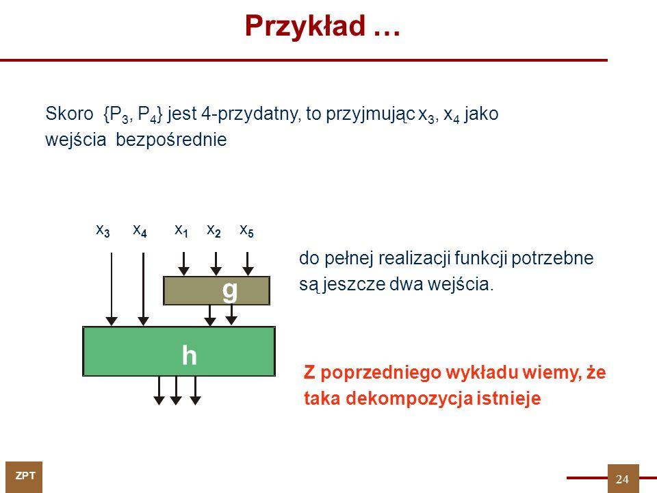 ZPT Przykład … Skoro {P 3, P 4 } jest 4-przydatny, to przyjmując x 3, x 4 jako wejścia bezpośrednie x 1 x 2 x 5 g x 3 x 4 h do pełnej realizacji funkcji potrzebne są jeszcze dwa wejścia.