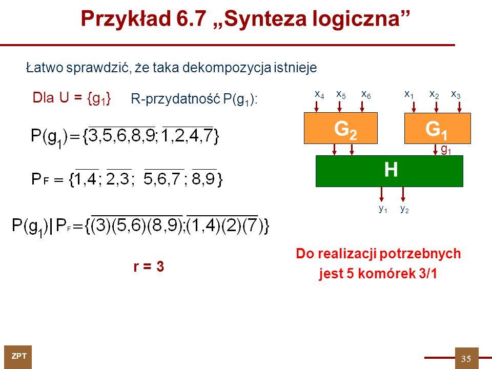 """ZPT Dla U = {g 1 } r = 3 G1G1 H y 1 y 2 G2G2 x 4 x 5 x 6 x 1 x 2 x 3 Łatwo sprawdzić, że taka dekompozycja istnieje R-przydatność P(g 1 ): Do realizacji potrzebnych jest 5 komórek 3/1 35 g1g1 Przykład 6.7 """"Synteza logiczna"""