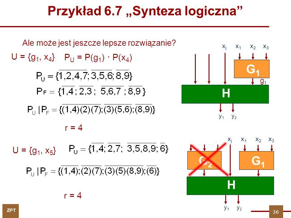 ZPT U = {g 1, x 4 } r = 4 U = {g 1, x 5 } r = 4 Ale może jest jeszcze lepsze rozwiązanie.