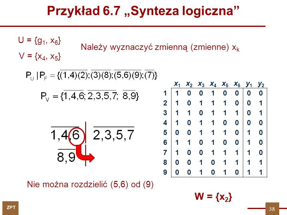 """ZPT U = {g 1, x 6 } W = {x 2 } x1x1 x2x2 x3x3 x4x4 x5x5 x6x6 y1y1 y2y2 110010000 210111001 311011101 410110000 500111010 611010010 710011110 800101111 900101011 Należy wyznaczyć zmienną (zmienne) x k 38 V = {x 4, x 5 } Nie można rozdzielić (5,6) od (9) Przykład 6.7 """"Synteza logiczna"""