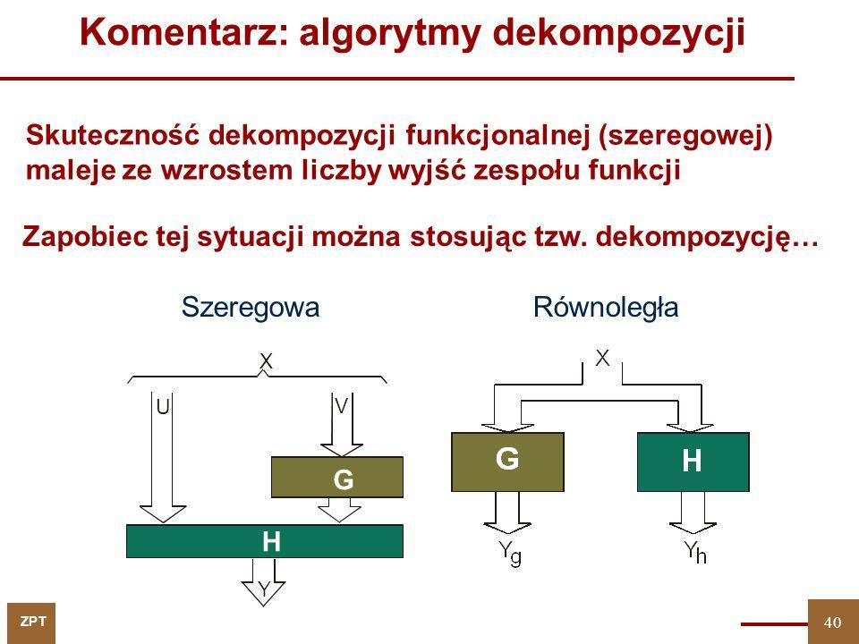 ZPT 40 Komentarz: algorytmy dekompozycji Równoległa Skuteczność dekompozycji funkcjonalnej (szeregowej) maleje ze wzrostem liczby wyjść zespołu funkcji Szeregowa Y U V X G H Zapobiec tej sytuacji można stosując tzw.