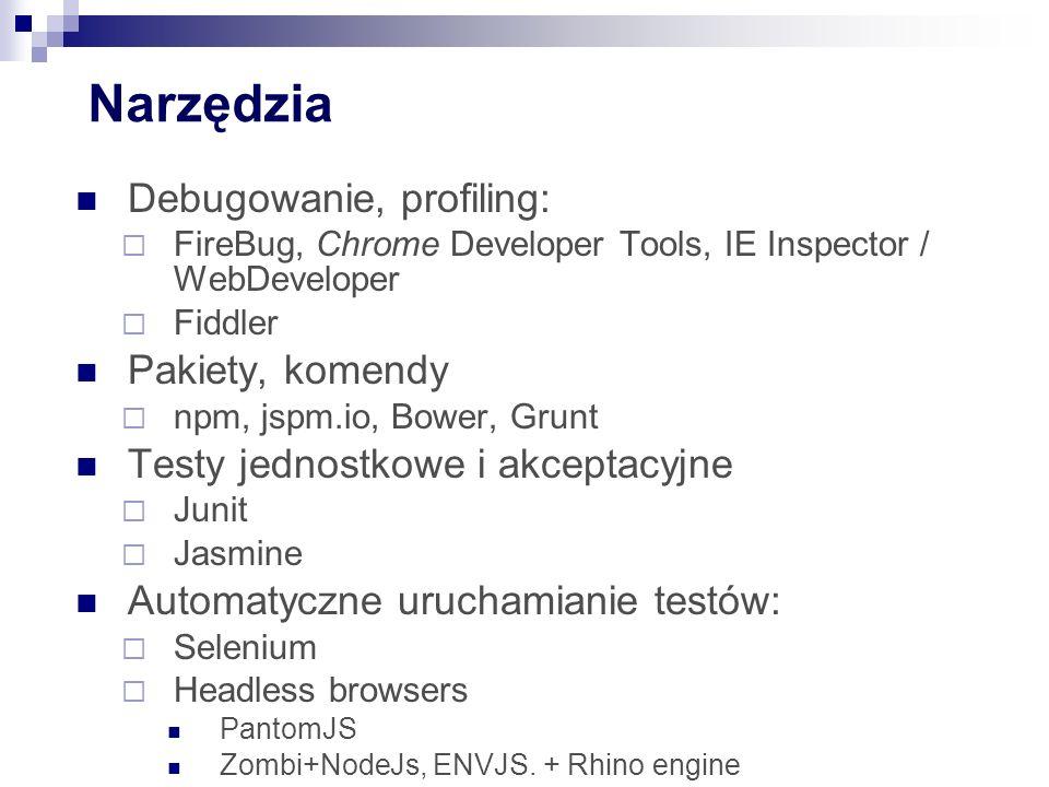 Narzędzia Debugowanie, profiling:  FireBug, Chrome Developer Tools, IE Inspector / WebDeveloper  Fiddler Pakiety, komendy  npm, jspm.io, Bower, Grunt Testy jednostkowe i akceptacyjne  Junit  Jasmine Automatyczne uruchamianie testów:  Selenium  Headless browsers PantomJS Zombi+NodeJs, ENVJS.