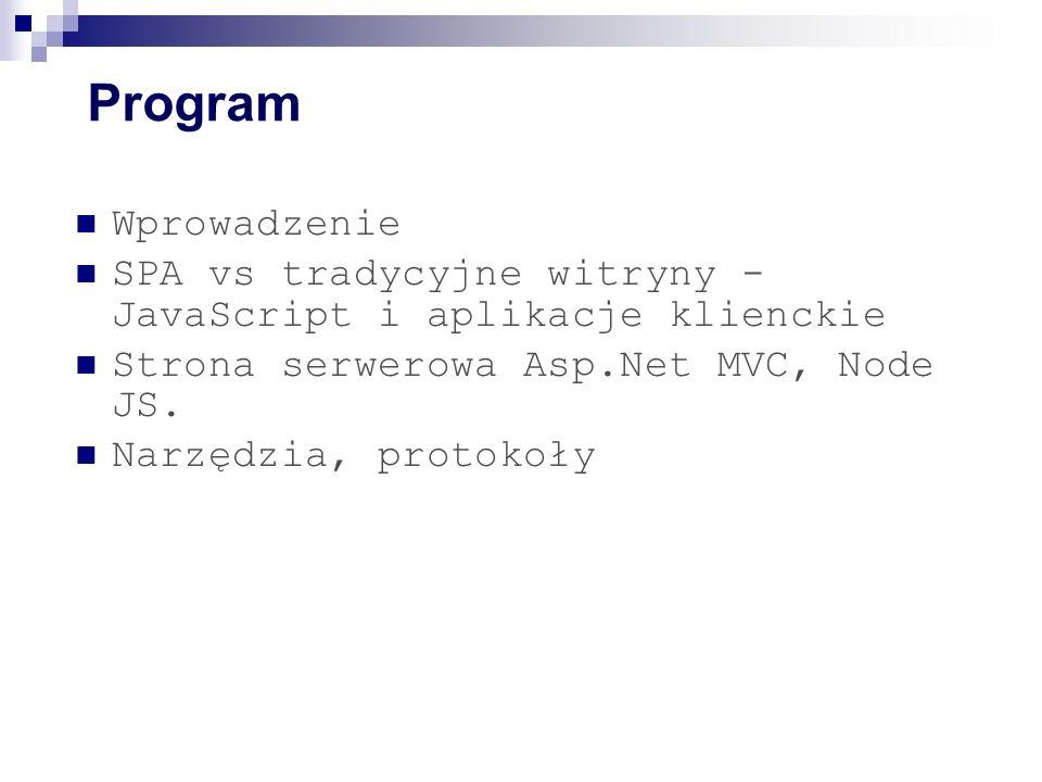 Program Wprowadzenie SPA vs tradycyjne witryny - JavaScript i aplikacje klienckie Strona serwerowa Asp.Net MVC, Node JS.