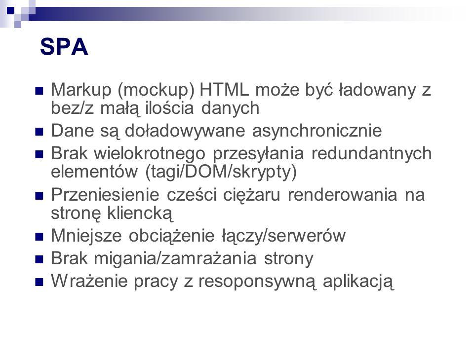 SPA Markup (mockup) HTML może być ładowany z bez/z małą ilościa danych Dane są doładowywane asynchronicznie Brak wielokrotnego przesyłania redundantnych elementów (tagi/DOM/skrypty) Przeniesienie cześci ciężaru renderowania na stronę kliencką Mniejsze obciążenie łączy/serwerów Brak migania/zamrażania strony Wrażenie pracy z resoponsywną aplikacją