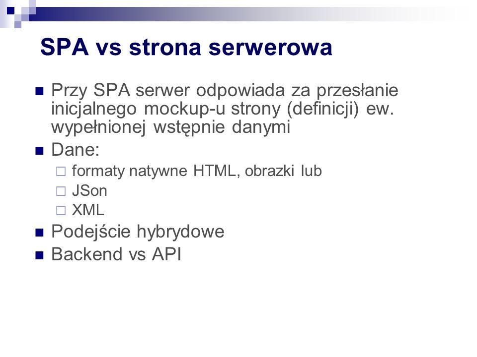 SPA vs strona serwerowa Przy SPA serwer odpowiada za przesłanie inicjalnego mockup-u strony (definicji) ew.