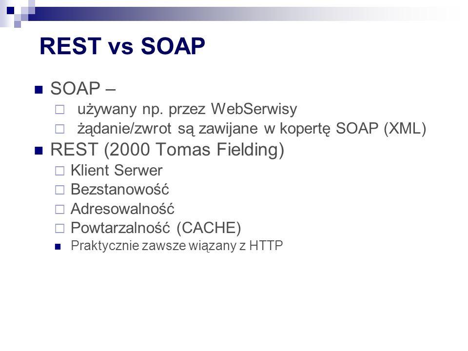 REST vs SOAP SOAP –  używany np.