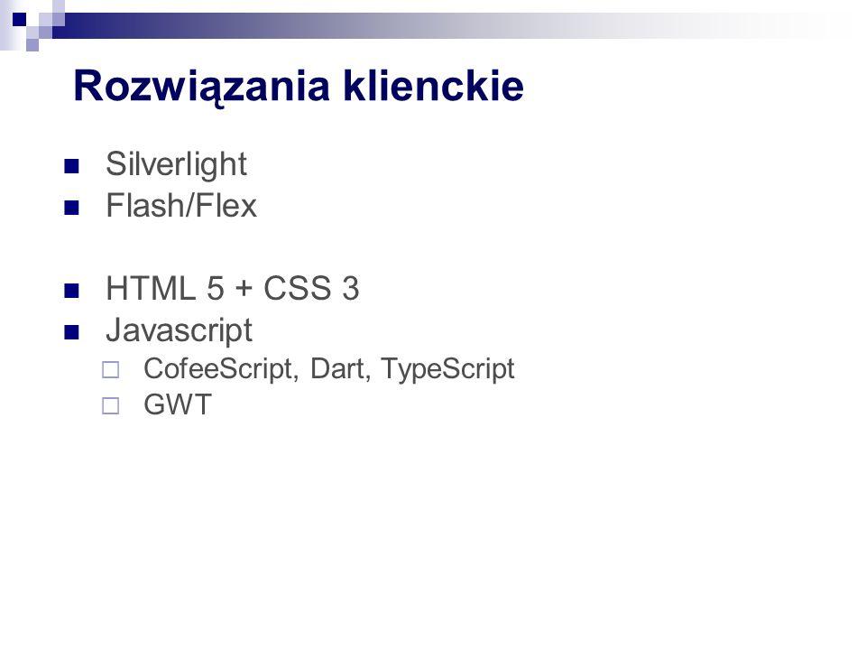 Rozwiązania klienckie Silverlight Flash/Flex HTML 5 + CSS 3 Javascript  CofeeScript, Dart, TypeScript  GWT