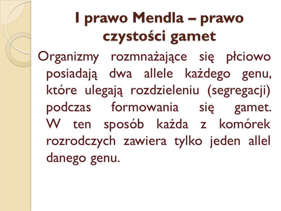 I prawo Mendla – prawo czystości gamet Organizmy rozmnażające się płciowo posiadają dwa allele każdego genu, które ulegają rozdzieleniu (segregacji) p