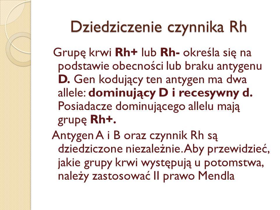 Dziedziczenie czynnika Rh Grupę krwi Rh+ lub Rh- określa się na podstawie obecności lub braku antygenu D. Gen kodujący ten antygen ma dwa allele: domi
