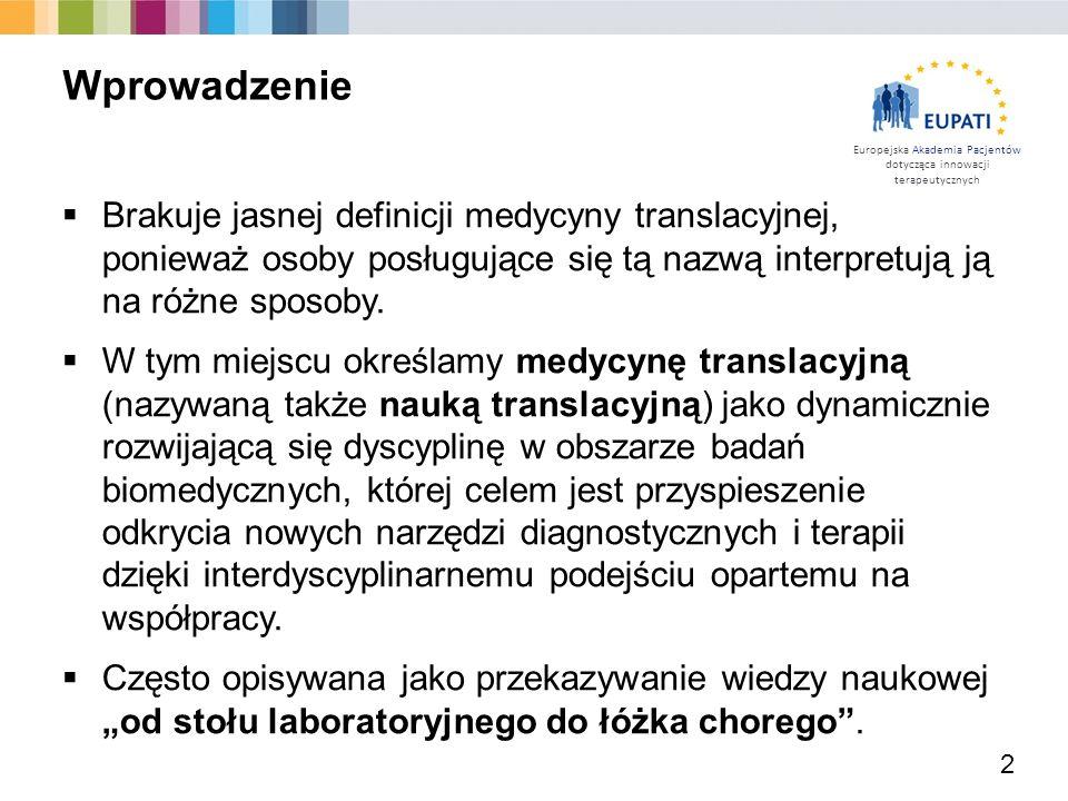 Europejska Akademia Pacjentów dotycząca innowacji terapeutycznych  Brakuje jasnej definicji medycyny translacyjnej, ponieważ osoby posługujące się tą