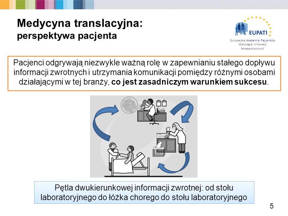 Europejska Akademia Pacjentów dotycząca innowacji terapeutycznych 5 Medycyna translacyjna: perspektywa pacjenta Pacjenci odgrywają niezwykle ważną rol