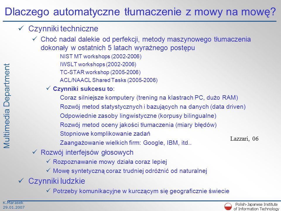 K.Marasek 29.01.2007 Multimedia Department Dlaczego automatyczne tłumaczenie z mowy na mowę.