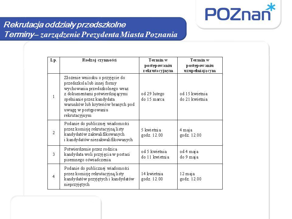 Rekrutacja oddziały przedszkolne Terminy – zarządzenie Prezydenta Miasta Poznania