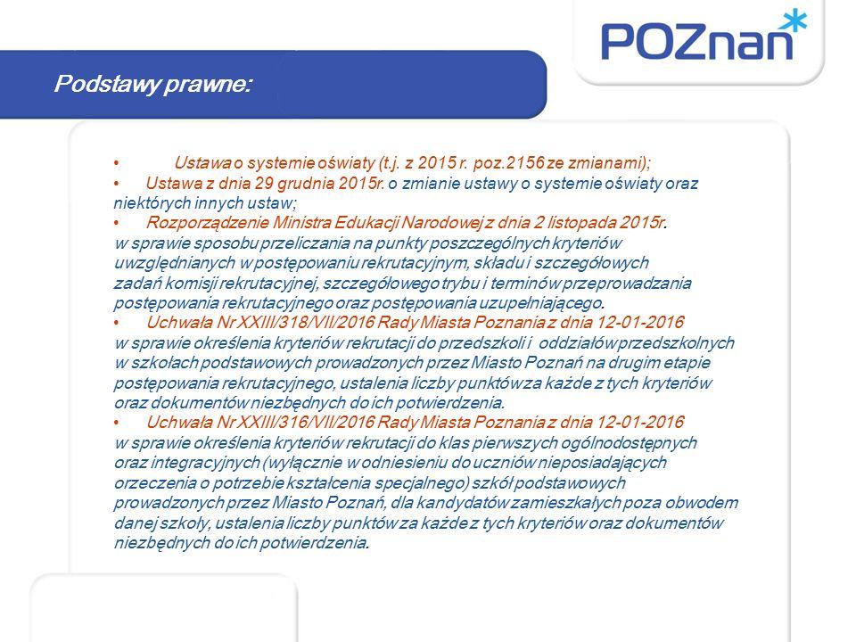 Podstawy prawne: Ustawa o systemie oświaty (t.j. z 2015 r. poz.2156 ze zmianami); Ustawa z dnia 29 grudnia 2015r. o zmianie ustawy o systemie oświaty