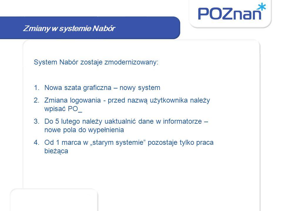 System Nabór zostaje zmodernizowany: 1.Nowa szata graficzna – nowy system 2.Zmiana logowania - przed nazwą użytkownika należy wpisać PO_ 3.Do 5 lutego