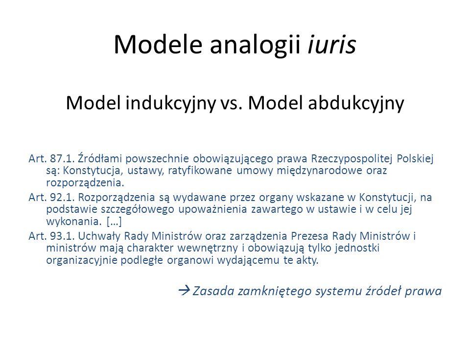 Modele analogii iuris Model indukcyjny vs. Model abdukcyjny Art. 87.1. Źródłami powszechnie obowiązującego prawa Rzeczypospolitej Polskiej są: Konstyt